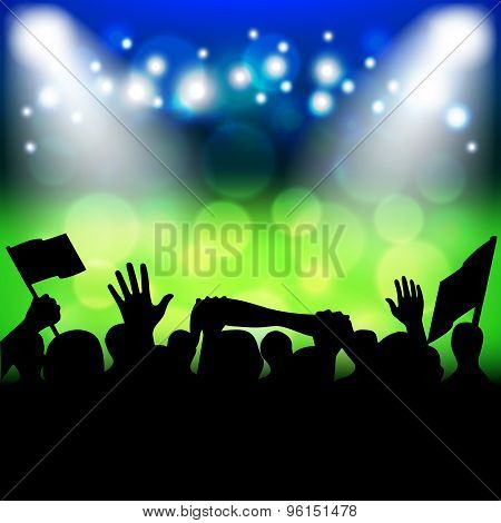 Soccer Fans On Stadium Vector Background