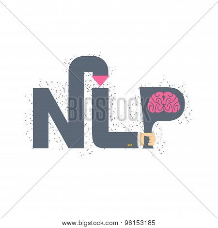 Nlp Logo And Emblem. Hand Holding A Letter With Brain. Vector Illustration