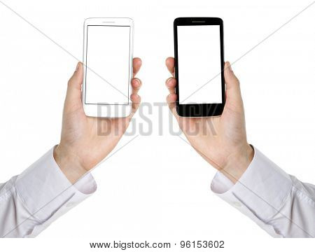 Hands holding mobile smart phones, isolated on white