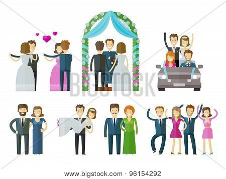 wedding, marriage, nuptial vector logo design template. ceremony, celebration or people, folk icons