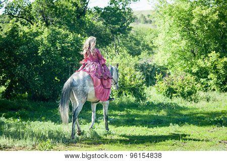 Horsewoman On White Horse