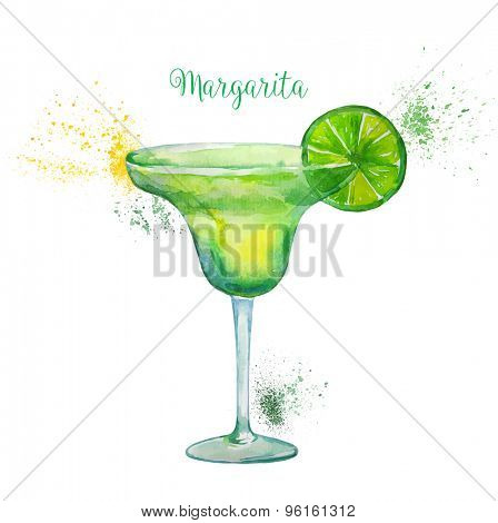 Watercolor Margarita Cocktail in Glass with Lime Slice Isolated on White Background. Vector Illustration.