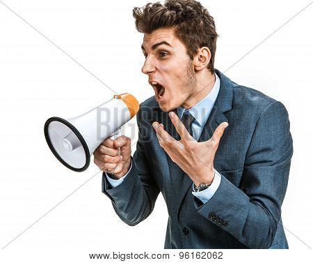 Stressed Man Yelling Through A Megaphone