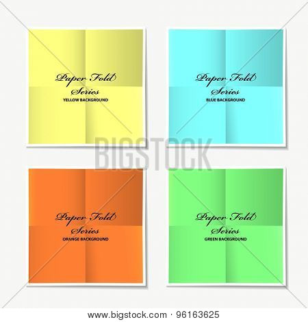 Paper fold collection with colour variations and drop shadow