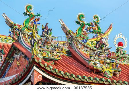 Decoration on the roof of Kuan Yin Temple, Penang, Malaysia