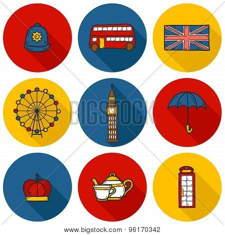 Set of cute hand drawn cartoon objects on London theme: queen crown, red bus, big ben, umbrella, lon