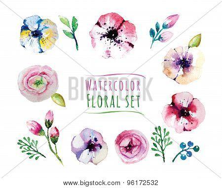 Watercolorflorals elements set. Vintage leaves, flowers and bran