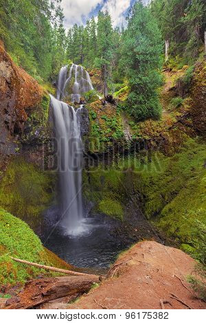 Falls Creek Falls Lower and Middle Tier at Gifford Pinchot National Forest in Washington State poster
