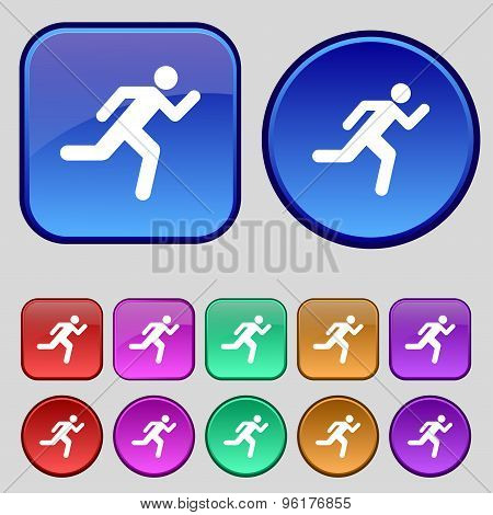 Running Man Icon Sign. A Set Of Twelve Vintage Buttons For Your Design. Vector