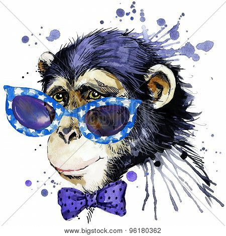 monkey T-shirt graphics. monkey illustration with splash watercolor textured  background. unusual il