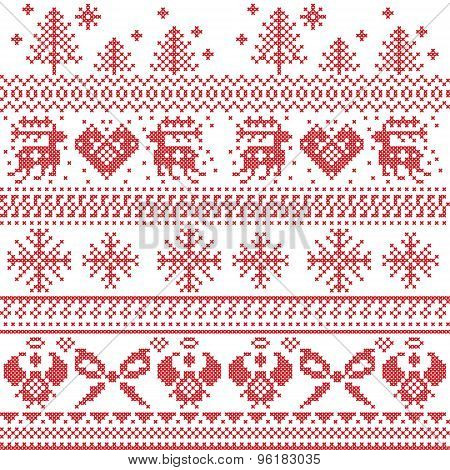 Scandinavian Nordic Xmas Pattern With Reindeer,rabbits, Xmas Trees, Angels, Bow In Cross Stitch poster