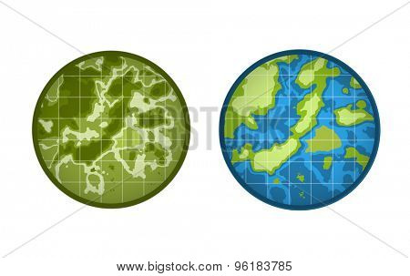 Global Earth vector icon isolated on white background. Map, Island or Texture and Height symbol. Stock design element.