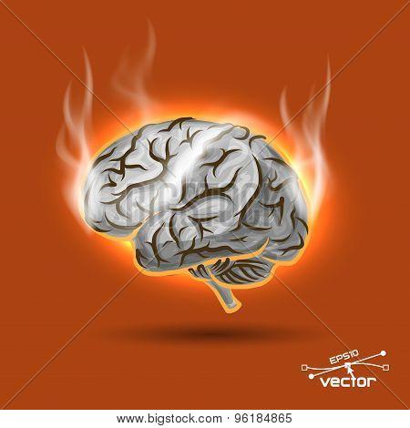 Melting brain, vector illustration for your design, 5 editable layers eps10 poster