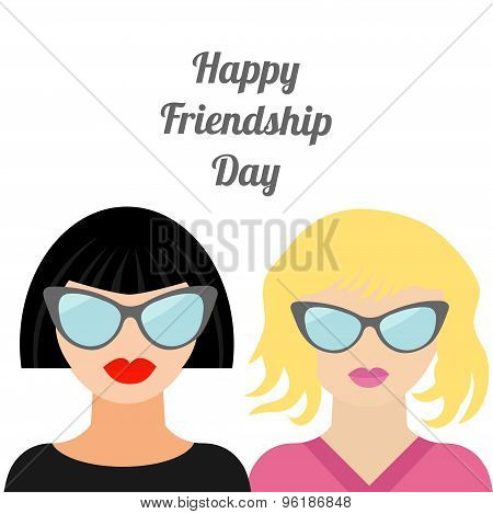 Happy Friendship Day Fashion Blond Brunet Woman Best Friends Flat Design
