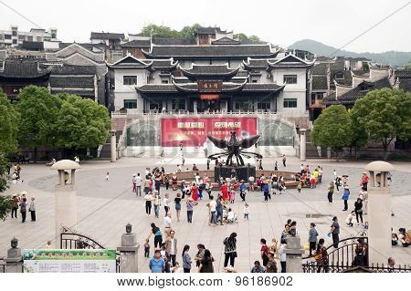 Phoenix Sculpture In Downtown Of Fenghuang Ancient City.
