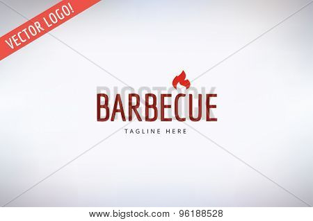 Barbecue and Food Vector Logo. Outdoor, Kitchen or Meat symbols. Stock design element.