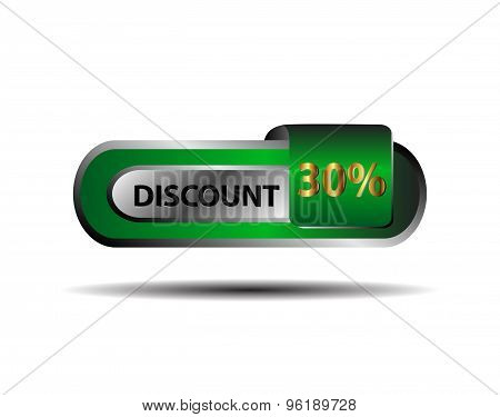 30 percent discount green gold button