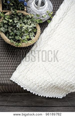 Crochet, Cable Knit Baby Blanket in Cream
