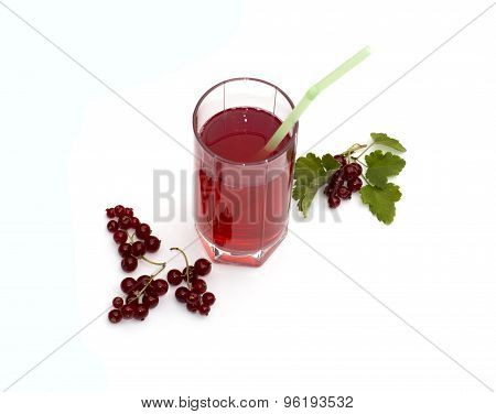 The Glass Of Juice Decorated With Currant Branches