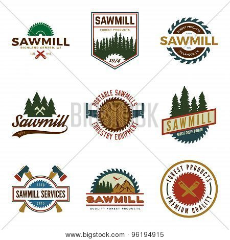 Vector Set Of Sawmill Labels