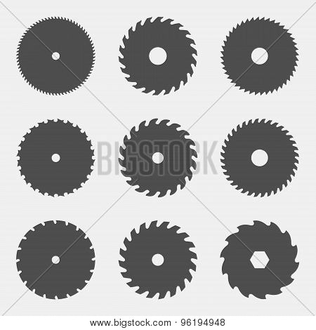 Vector Set Of Different Black Silhouettes Of Circular Saw Blades