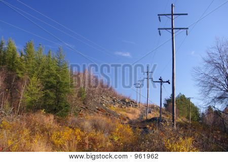 Power Lines In Rural Area