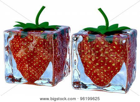 Two Melting Ice Cubes With Sweet Ripe Strawberries