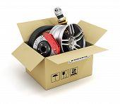 Auto parts in the cardboard box. Automotive basket shop. Auto parts store. poster