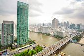 Landscape of River in Bangkok city in day time, bird view poster