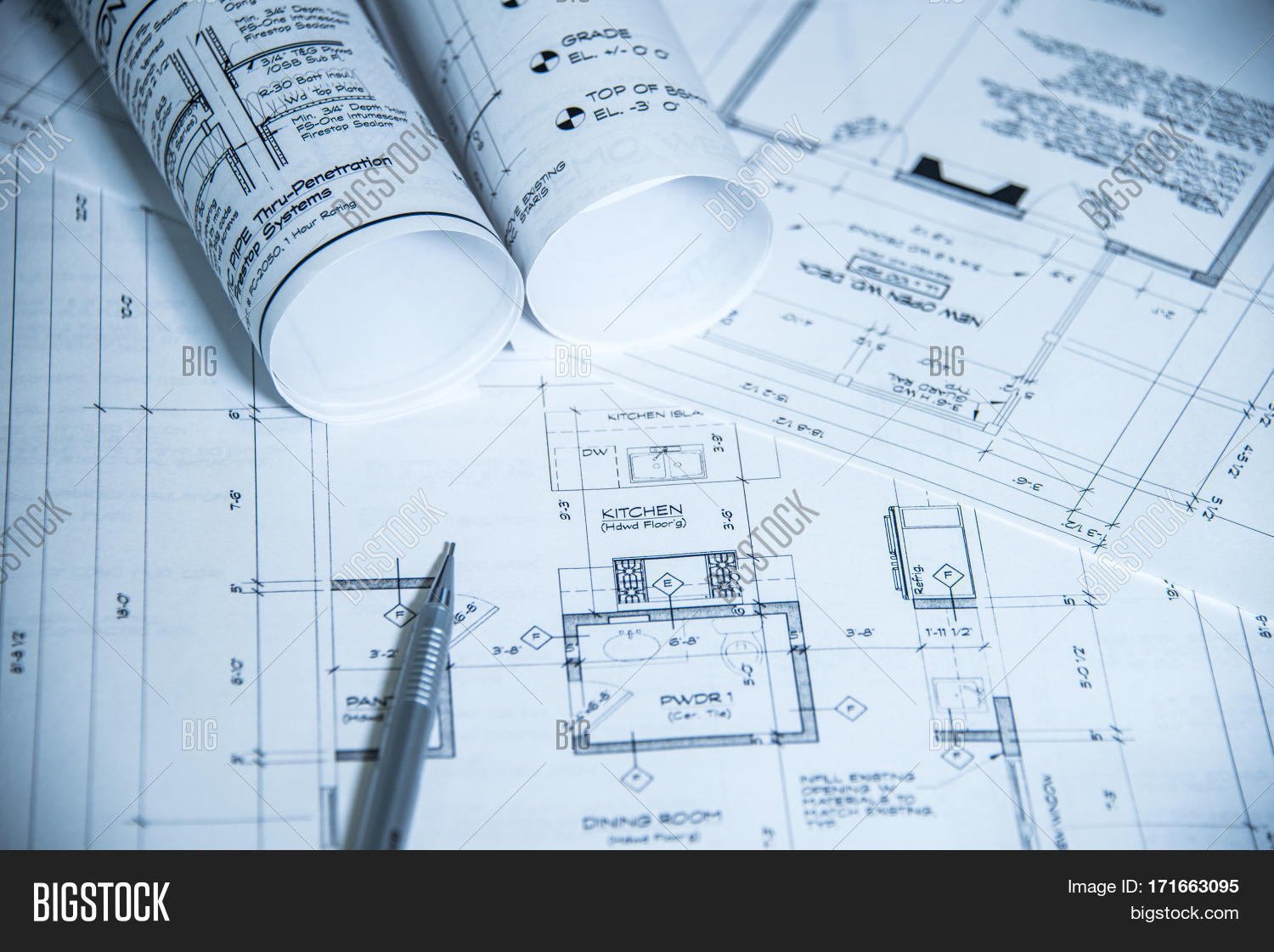 Imagen y foto house blueprints blue print style bigstock house blueprints blue print style floor plans on architects desk blueprint of a house malvernweather Gallery