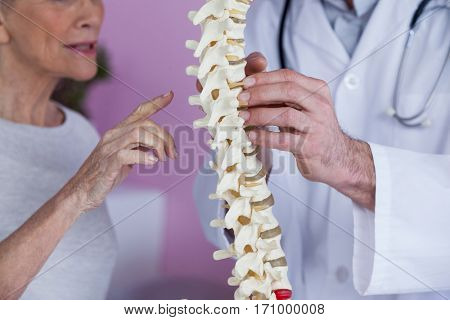 Mid section of physiotherapist explaining the spine model to patient in clinic