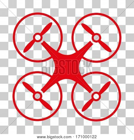 Copter icon. Vector illustration style is flat iconic symbol red color transparent background. Designed for web and software interfaces.