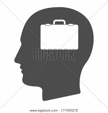 Isolated Male Head With  A Briefcase
