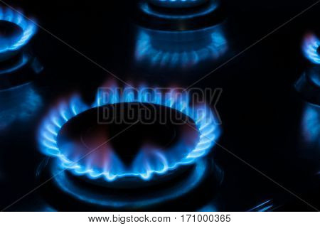 Flame from a gas stove, gas hob cooker, energy concept