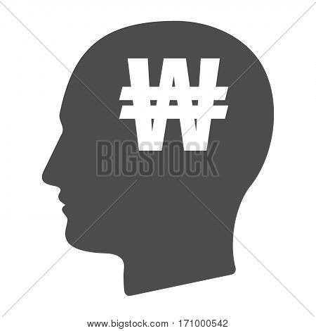 Isolated Male Head With A Won Currency Sign