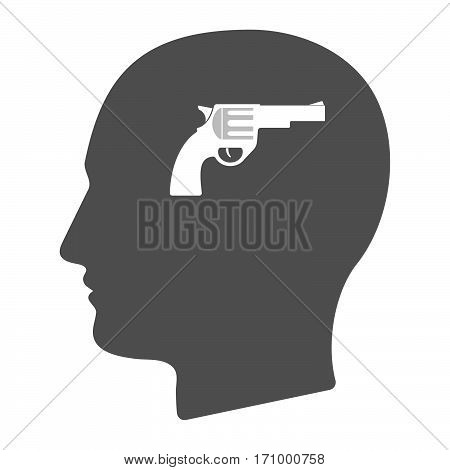 Isolated Male Head With A Gun