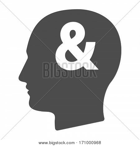 Isolated Male Head With An Ampersand