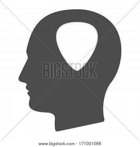 Isolated Male Head With A Plectrum