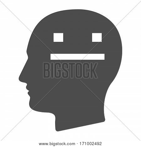 Isolated Male Head With A Emotionless Text Face