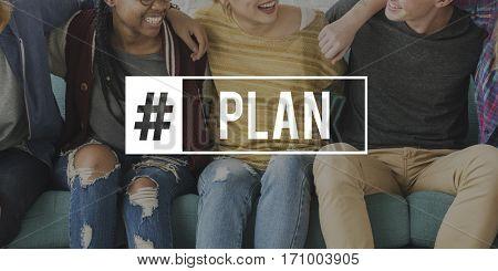 People Sitting Plan Partnership Word