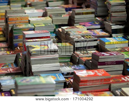 COLOR PHOTO OF DISPLAYED BOOKS FOR SALE