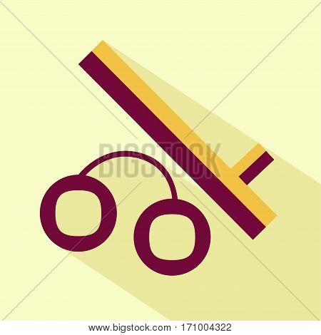 Vector flat stylize police baton and handcuffs icon. Isolated colored icon for logo web site design button app UI.