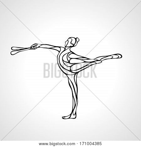 Creative outline silhouette of gymnastic girl. Art gymnastics with clubs, black and white vector illustration