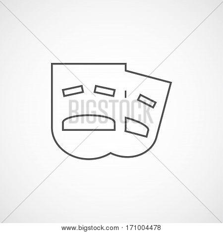 Vector flat drama mask icon. Isolated line drama icon for logo web site design app UI.