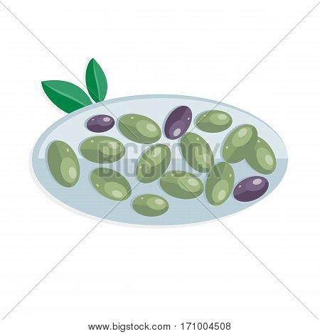 Tapas variety of appetizers, snacks, in Spanish cuisine. Spain food concept in flat design. Olives isolated on white. Plate of olives. Olives at Spain festival. Flat style design. Vector illustration
