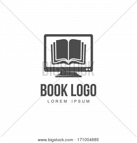 Open book on computer screen graphic logo template, vector illustration isolated on white background. Open book on computer monitor logo template for ebook store, library, online education
