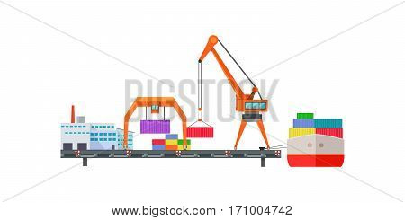 Escalator delivers cargo on ship. Logistics container shipping and distribution. Transportation to any part of world. Delivering by water sea ocean. Loading and unloading boxes. Vector illustration