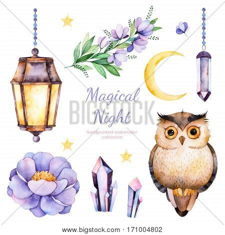 Hand painted watercolor flowers, leaves,moon and stars, night lamp, crystals and cute owl.