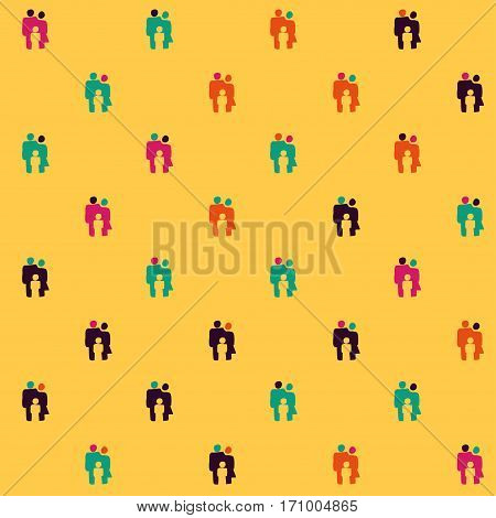 Vector hand drawn cartoon seamless parents and child pattern. Family theme. Colored family pattern for paper textile polygraphy game web design