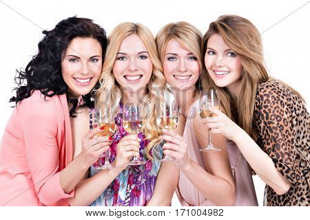Portrait of group young beautiful women have party and drinking wine - isolated on white.